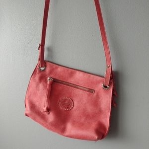 Roots leather crossbody bag pink salmon color